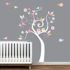Albero di vinile muro decalcomanie adesivi fiori di Modernwalls