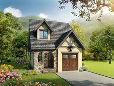 ❤❤❤❤  #24610: 2 bedroom, 2.5 bath house plan with 1-car garage. Craftsman house style, 2 story | HousePlansPlus.com