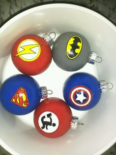 DIY superhero ornaments :) i'm so proud of me
