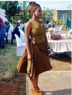 2017 Modern shweshwe dresses outfits - style you 7 Traditional Dresses Designs, Traditional Skirts, Traditional Outfits, Traditional Wedding, African Attire, African Dress, African Outfits, African Clothes, African Men