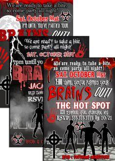 Zombie Halloween Party Invitations zombie by CustomPrintablesNY