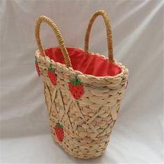 New straw bag handmade strawberry decorative summer handbag fashion Joker women's bag Fashion Handbags, Fashion Bags, Summer Handbags, Fabric Textures, Gourds, Straw Bag, Models, Handmade, Decor