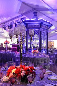 Purple Event Lighting Crystal Centerpieces Bling Candlestick holders purple flowers gala design Evantine Design