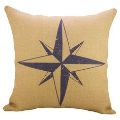 Compass Rose Pillow - Bring nautical flair to your sofa or guest bed with this charming burlap pillow, featuring a compass rose motif in blue. Joss & Main