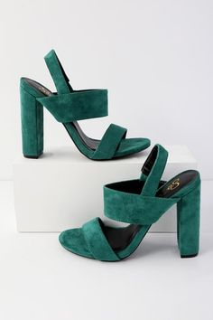 Versatility is the name of the game with the Medina Green Suede High Heel Sandals! These light blue vegan suede heels and their peep-toe upper and matching quarter strap are perfect for your next G., hot date, or holiday party! Women's Shoes, Cute Shoes, Me Too Shoes, Shoe Boots, Shoes Sneakers, Golf Shoes, Sports Shoes, Suede Heels, Pumps Heels
