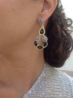 $19 Kendra Scott inspired black and gray earrings
