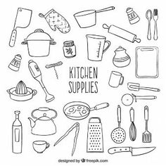 -Sketchy kitchen supplies Sketchy kitchen supplies See it Doodle Drawings, Doodle Art, Doodle Icon, Doodle Lettering, Sketch Notes, Kitchen Supplies, Kitchen Tools, Kitchen Things, Kitchen Art