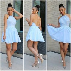Sexy A-line Chiffon Homecoming Dress, Light Blue Backless Lace Top Short Prom Dress HCD35Short Prom Dresses,Homecoming Dresses,Prom Gowns,Party Dresses,Graduation Dresses,Short Prom Dresses,Gowns Prom,Cheap Prom Gowns on Line