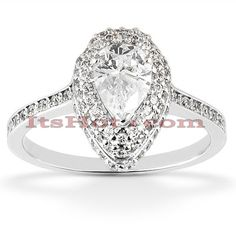 14K Pear Shaped Diamond Engagement Ring 0.97ct