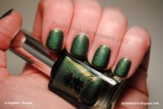 a-England 'Dragon' by TartanHearts, via Flickr - green nail polish manicure