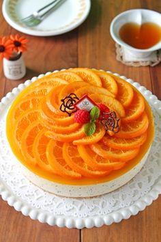 お花オレンジと紅茶のレアチーズケーキ☆