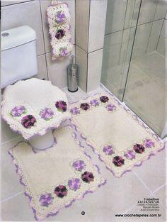 Jogo de banheiro lilás - com gráfico - Crochê Tapetes