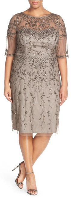 Beautifully embellished Mother of the Bride dress by Adrianna Papell #Motherofthebride