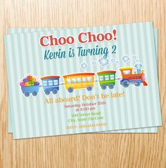 Custom Printable Choo Choo Train Birthday Invitation