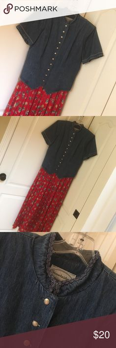 """Size 16 dress This is one piece to look like two.  Cute buttons, collar and sleeve detail, and tie in back!  I'm 5'5"""" and this is to my ankles!  Discount on bundles.  Smoke free home! stonebridge Dresses Maxi"""