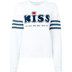 Zoe Karssen Kiss Boys and Make Them Cry Logo Striped Sweater (160 AUD) ❤ liked on Polyvore featuring tops, sweaters, white, stripe sweater, striped top, logo tops, logo sweaters and cotton sweater