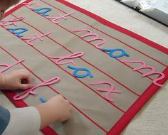 Make one of these for moveable alphabet! (Could hang by a rod to the wall when not in use) English Handwriting, Phonograms, Montessori Elementary, Montessori Materials, Learning Letters, Language Activities, Letter Sounds, Language Arts, Alphabet