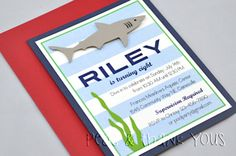 Nautical Great White Shark Handmade Birthday Invitation-great white shark summer nautical pool