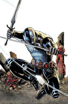 Deathstroke the  Terminator(as he was originally conceived). One of my true favorite villains. This is the character that was parodied by Rob Liefeld to create the ultra popular Deadpool