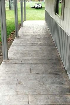 Wood Plank Pattern Stamped Concrete Overlay In Stuart