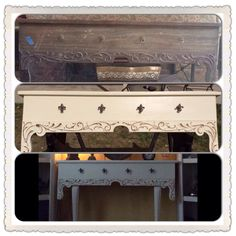 Old mantel found at garage sale. Too heavy to hang, so I added some table legs. Before and after DIY