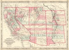Johnson's California, With Territories of Utah, Nevada, Colorado, New Mexico and Arizona. Johnson and Ward, Johnson, A.J. Showing Entire Southwest. 1864.