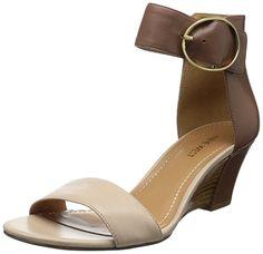 Nine West Women's Ventana Wedge Sandal,Brown/Light Natural,6.5 M US