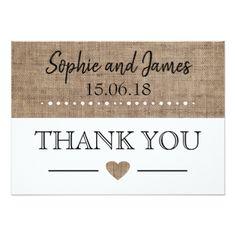 Burlap Wedding Thank You Card  $2.11  by BubblesCreative  - cyo diy customize personalize unique
