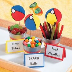 """Pool Party Favors - OrientalTrading.com  """"inner tubes"""" lifesaver candies, """"pool noodles"""" licorcie, """"beach balls""""  gumballs... too cute! by deanne Pool Party Favors, Pool Party Kids, Summer Pool Party, Pool Party Snacks, Pool Party Themes, Beach Theme Parties, Beach Themed Snacks, Party Candy, Teenage Pool Party"""