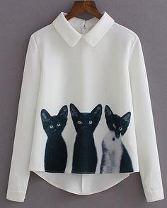Cute Shirt Collar Long Sleeve Asymmetrical Three Cats Print Blouse For Women