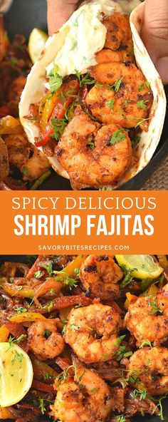 Very spicy,delicious and easy Skillet Shrimp Fajitas! Enjoy these with sour cream topping! Very spicy,delicious and easy Skillet Shrimp Fajitas! Enjoy these with sour cream topping! Spicy Recipes, Seafood Recipes, Dinner Recipes, Cooking Recipes, Healthy Recipes, Easy Mexican Food Recipes, Low Sodium Recipes, Seafood Dishes, Easy Recipes