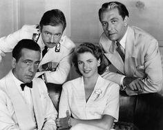 "Humphrey Bogart, Claude Rains, Ingrid Bergman, and Paul Henreid in cast of ""Casablanca"" (1942)"