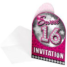 Sweet 16 uitnodigingskaart. Het kaartje is roze&zilver. Op de uitnodigingskaart staat de tekst sweet 16 invitation. Verpakt per 8 stuks.