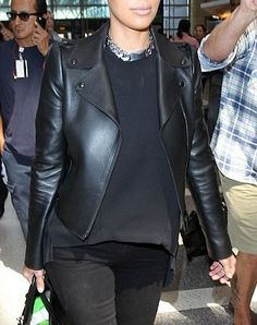 Fashionable Kim Kardashian Leather Jacket  With this Kim Kardashian biker leather jacket you can share in the style of the woman that seems to have it all. She's a famous television personality, as well as being a fashion designer, model, and actress, as well as the wife of singer Kanye Wes