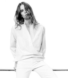 Helmut Lang Poplin Shirt and Stretch-Canvas Jeans for 2016 lookbook photoshoot