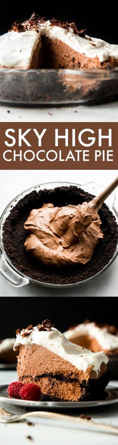 Sky high chocolate pie with chocolate mousse, Oreo crust, and whipped cream! Completely divine! Recipe on sallysbakingaddic...