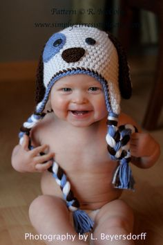 Image of Patchy Puppy Dog Beanie and Earflap Hat, CROCHET PATTERN, PDF