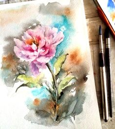 Watercolor Peony Painting Original Watercolor by CanotStop on Etsy