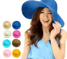 236e15633de of Fashion Women Wide Large Brim Hats Floppy Solid Summer UV Protection Beach  Sun Straw Hat