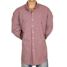 4XL Tall Ralph Lauren Classic Fit Plaid Shirt Long Sleeve Red Green Yellow 4XLT #SomeLikeItUsed