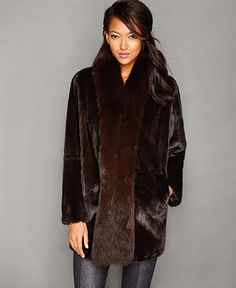 Elegantly styled with fox-fur trim, The Fur Vault's ultra-chic mink fur coat is a must-have indulgence for your winter wardrobe. | Real mink fur/real fox fur; lining: polyester | Professional fur clea