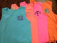 Monogrammed Comfort Color Tank Top -Great for Graduation Gifts, Beach Cover Ups, Wedding Parties, Greeks, and women of All Ages on Etsy, $17.00