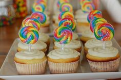 """""""Sucker"""" Cupcakes, need to add in candy """"sprinkles"""" (nerds?) and filling. Also, using 30 Sucks lollies.  **Funfetti Cake & Icing?"""