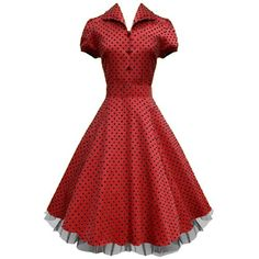 "LaFrock's Mad Men ""Ava"" Red 1940''s shirt polka dot circle vintage dress 8-18 (12) Lafrock http://www.amazon.co.uk/dp/B008U5NRES/ref=cm_sw_r_pi_dp_XZlFvb0Z5JKWQ"