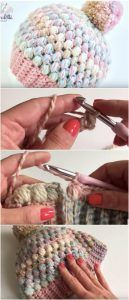 Crochet Beanie Patterns Easy Puff Stitch Beanie Free Crochet Tutorial in English - All the best free crochet patterns. Crochet Hat Tutorial, Crochet Beanie Pattern, Crochet Stitches Patterns, Crochet Designs, Crochet Tutorials, Crochet Ideas, Stitch Patterns, Bonnet Crochet, Crochet Baby