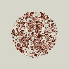 Pochoir motif floral. Katagami (ref 615-1) : Décoration d'intérieur par larabesque