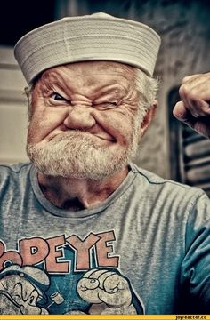 Popeye the Sailor is a cartoon fictional character, who has appeared in comic strips and animated cartoons in the cinema as well as on television. Look at this funny man, he looks like Popeye the sailor.