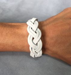 White braided genuine leather bracelet wristband cuff, christy keys creations etsy.
