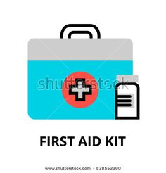 Modern flat editable line design vector illustration, concept of first aid kit icon, for graphic and web design