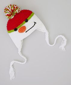 a3dae2d844380 Red  amp  White Snowman Earflap Beanie Crochet Baby Hats